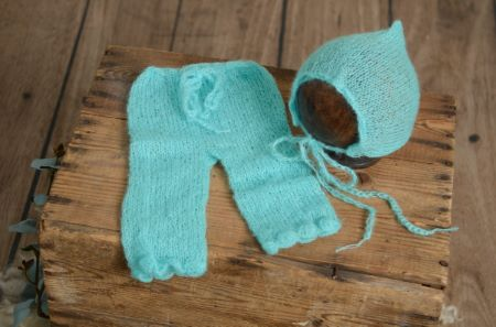Turquoise blue mohair adjustable-hat and pants set