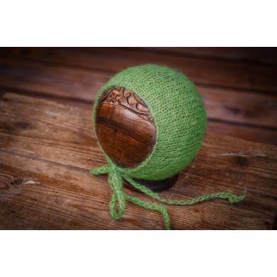 Bonnet en mohair vert
