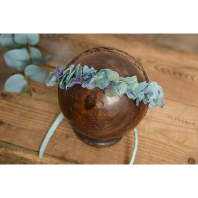 Aquamarine and purple natural flower headdress
