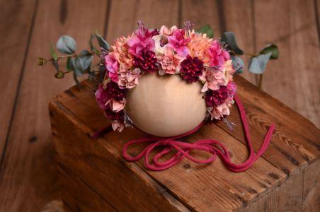 Blütenhaube für Baby in Rosa