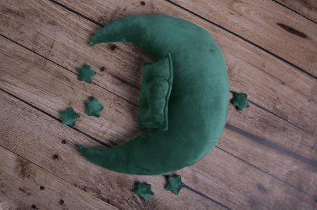 Set de luna, cojín y estrellas verde botella