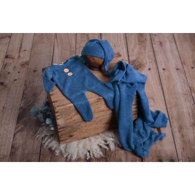 Blue stitch pyjamas, hat, and wrap set