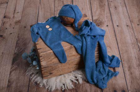Set wrap, bonnet et pyjama en maille bleu