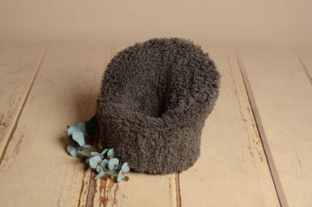 Dark grey short-hair cover for armchair
