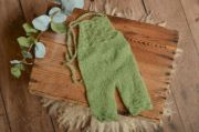 Green long mohair dungaree