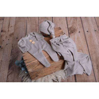 Set de wrap, gorro y pijama de punto gris