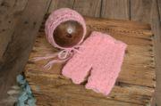 Ensemble en mohair pantalon et bonnet avec perles rose