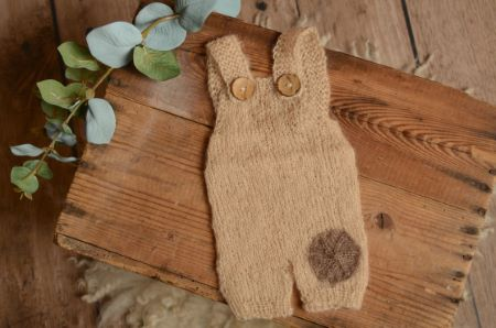 Beige short mohair dungaree with a patch