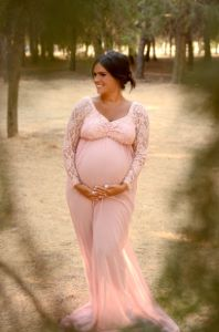 Dusty pink smooth dress with lace