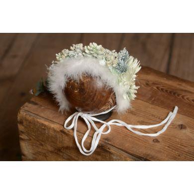 Capuche floral blanc et vert