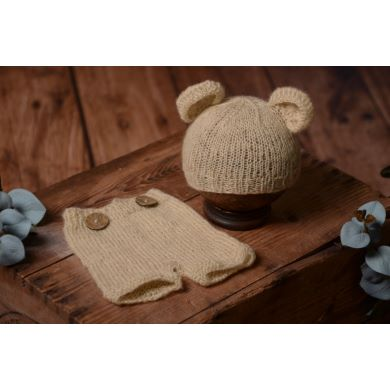 Beige mohair set with ears