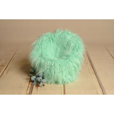 Mint green extra-long-hair cover for armchair