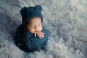 Blue fur hat with ears