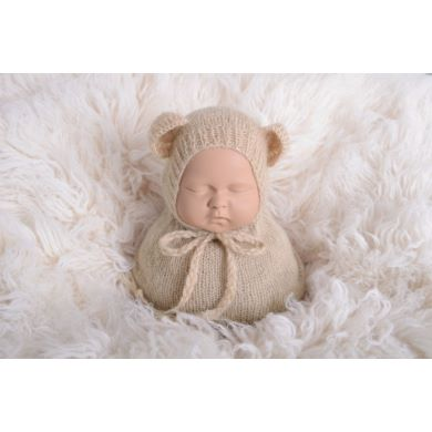 Beige sack and hat with little ears set