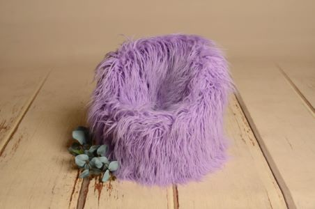 Purple extra-long-hair cover for armchair