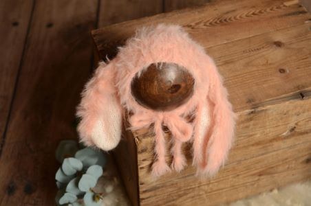 Baby pink fur hat with rabbit ears