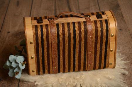 Valise grande à rayures marron et noir