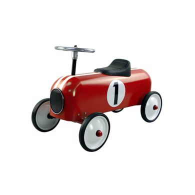 Red and white racing car