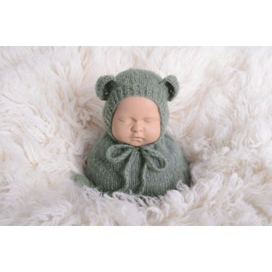 Grey sack and hat with little ears set