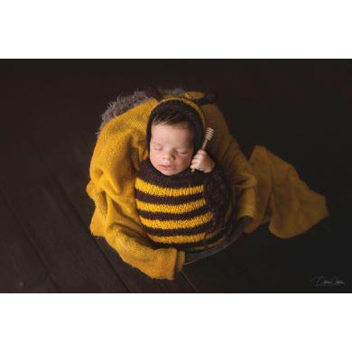 Yellow and black sack bee costume
