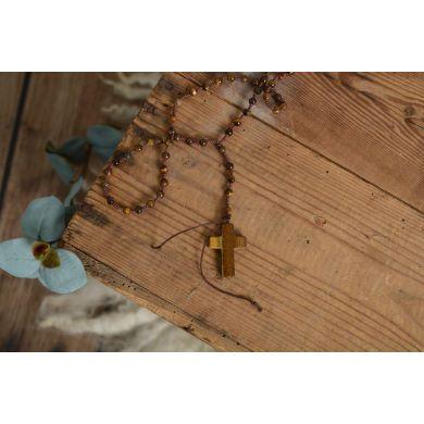 Rosario in legno marrone