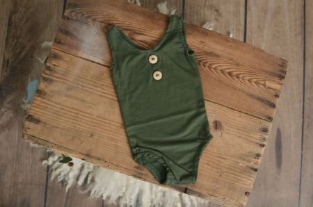 Bottle green stitch sleeveless bodysuit