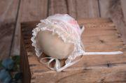 Haube fürs Baby aus Stoff in Beige und Rosa