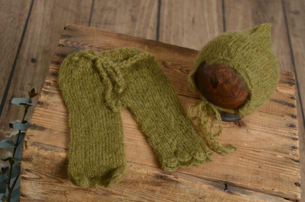 Ensemble en mohair pantalon et bonnet adaptable vert olive