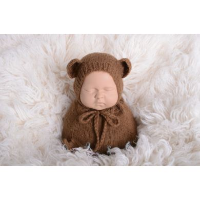 Brown sack and hat with little ears set