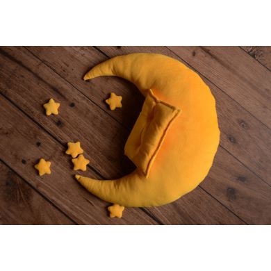 Yellow moon, pillow, and stars set