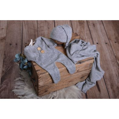 Set de wrap, gorro y pijama de punto gris jaspeado