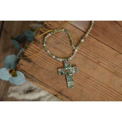 Croce in alabastro verde