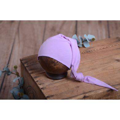 Gorro largo de punto con nudo lila