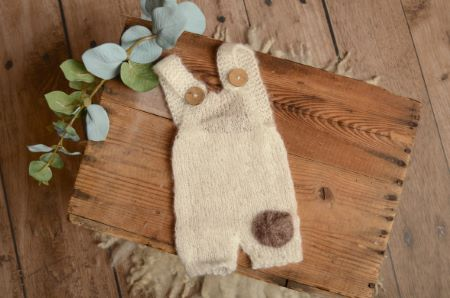 White short mohair dungaree with a patch