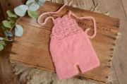 Pink short mohair dungaree