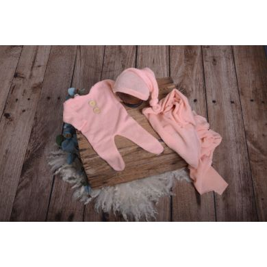 Set de wrap, gorro y pijama de punto rosa
