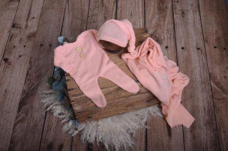 Set Wrap, Mütze und Pyjama aus Stickstoff in Rosa