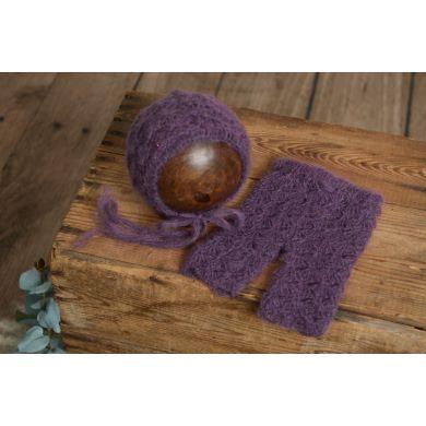 Set aus Angora mit Perlen - violett