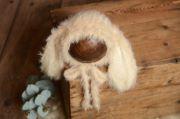 Beige fur hat with rabbit ears