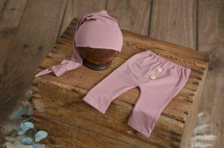 Pack pantalon et bonnet lisse rose foncé