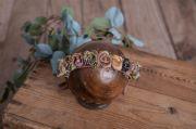 Copricapo floreale rosa antico e oro