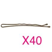 40 Épingles Ondulées Perlées 7cm Bronze