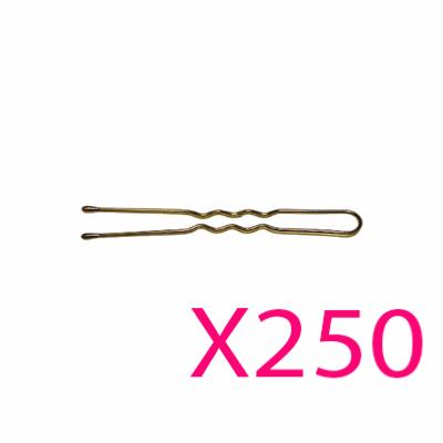 250 Épingles Ondulées Perlées 7cm Bronze