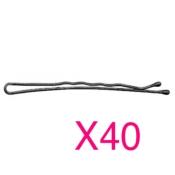 40 Épingles Ondulées Perlées 7cm Noir