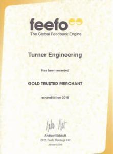 Feefo Gold Trusted Merchant accreditation