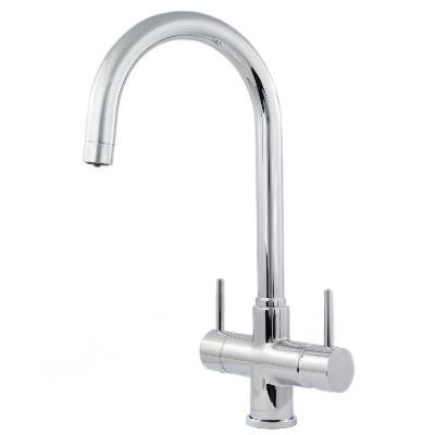 Verona 2 Lever, 3 Way Kitchen Tap Chrome & Inline Drinking Water Filter System