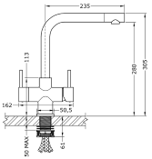 Sorrento 2 Lever, 3 Way Kitchen Tap Brushed Steel