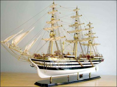 Amerigo Vespucci Ship Model (1930 Italy)|Large Size White