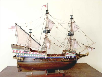 Golden Hind Ship Model (1576) Dark Wood