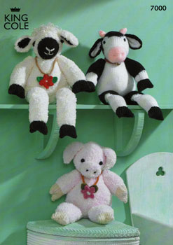Sheep, Cow and Pig Toy  Pattern 7000